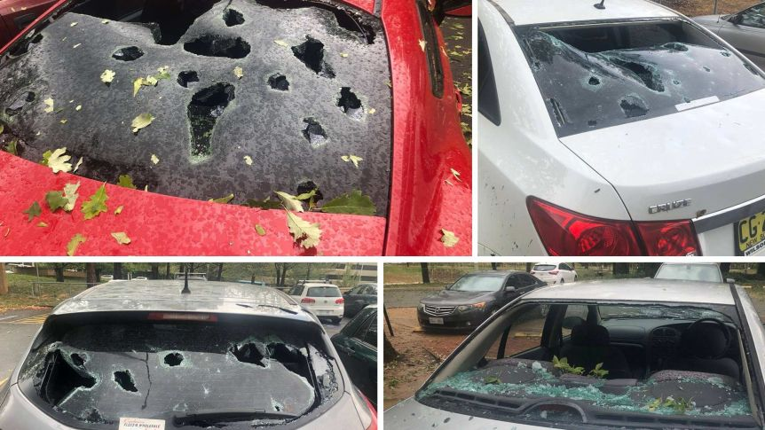 Four cars damaged by hail
