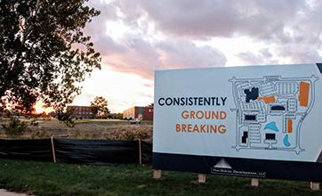 "A sign at Research Park that says ""Consistently Ground Breaking"""